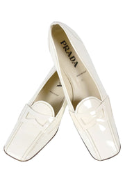 White Prada Penny Loafers for Women Size 9.5