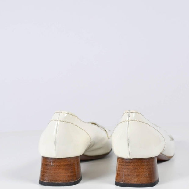 White Prada Loafers with Block Heel