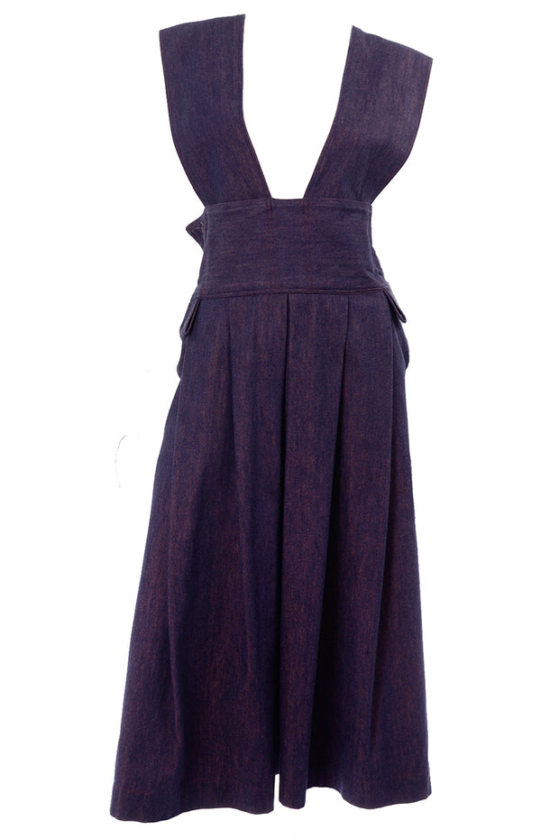 Vintage Japanese Blue/Purple Denim Pinafore Style Jumper Dress