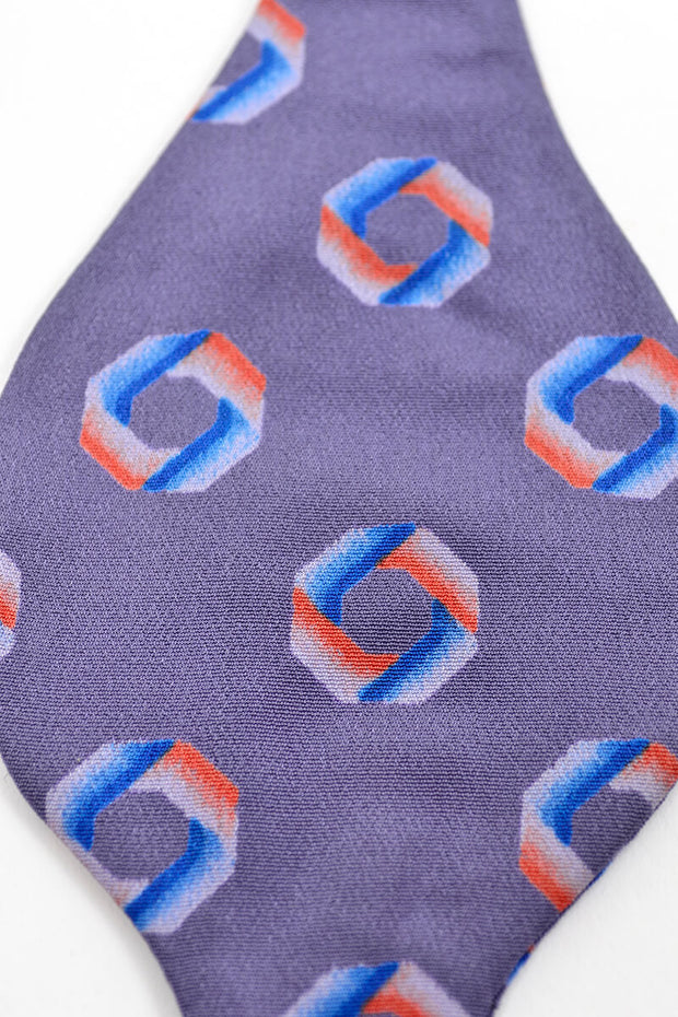 Pale Purple Vintage Silk Bow Tie Orange and Blue Folded Circle Pattern - Dressing Vintage