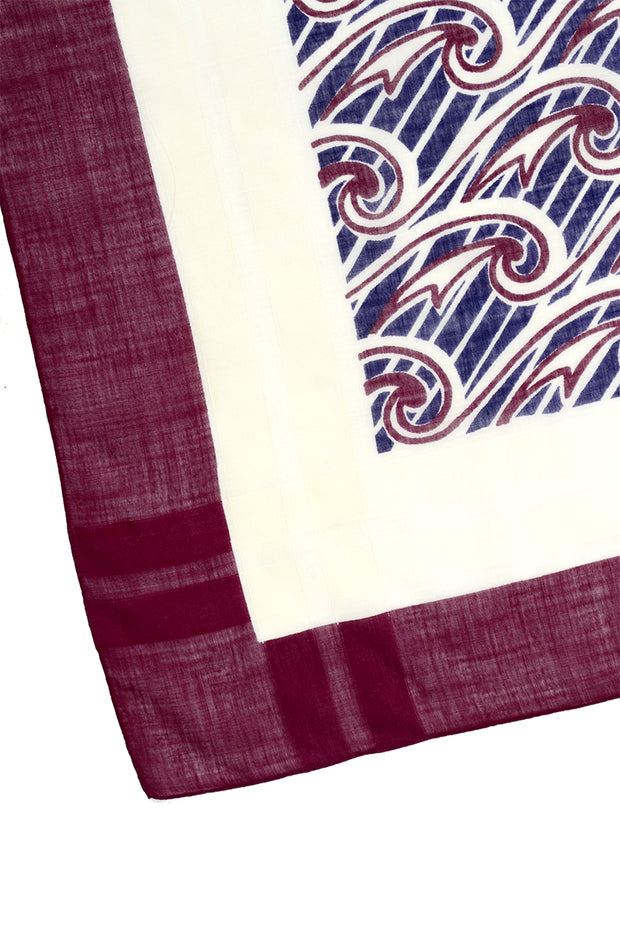 1970s Maroon & Blue Square Cotton Scarf w/ Wave Patterns