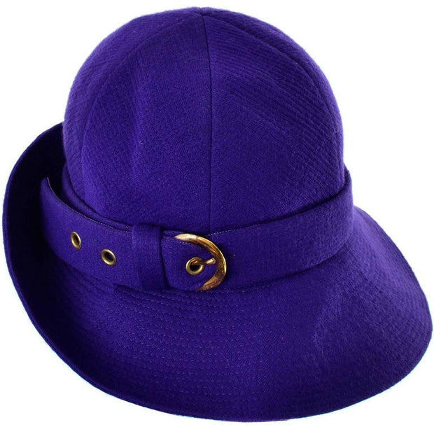 Vintage trilby hat YSL purple wool and buckle 60's