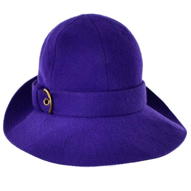 1960's mod trilby designer hat by Yves Saint Laurent in purple wool with a gold buckle
