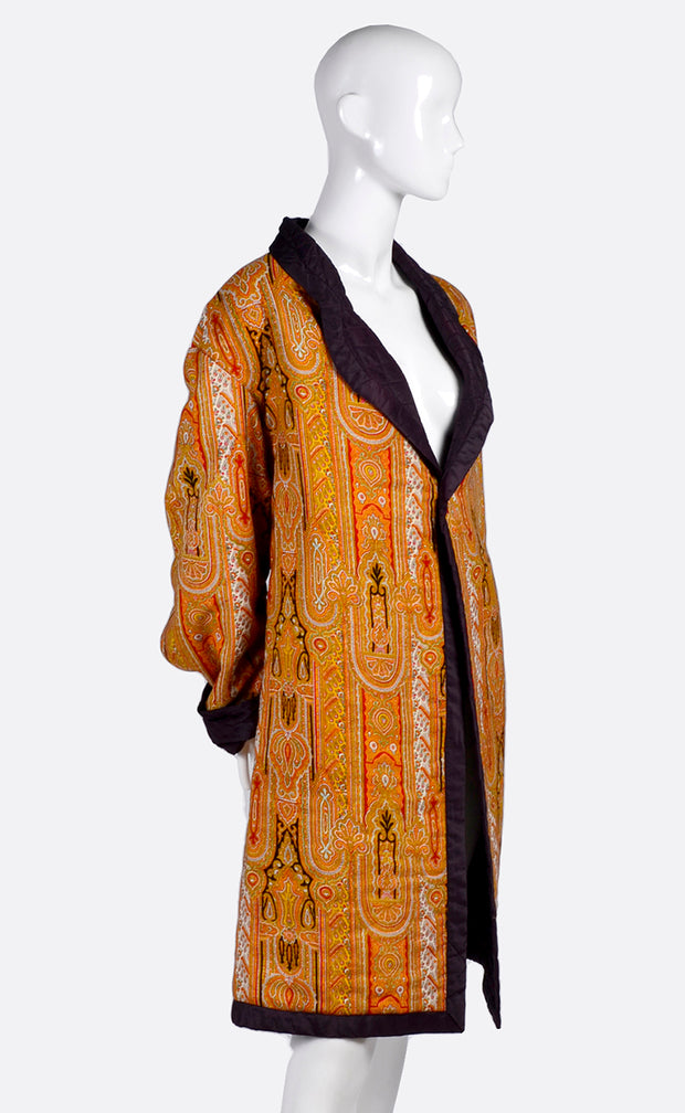 Vintage Moroccan Style Quilted Silk Jacket Unisex Coat