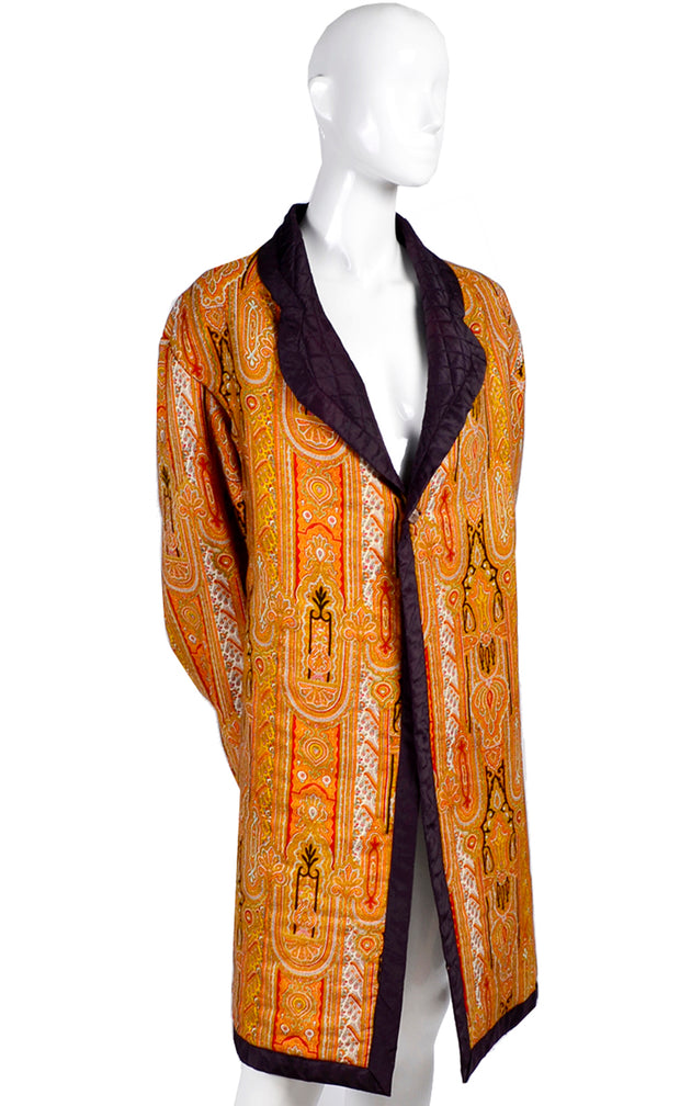 Vintage Moroccan Style Quilted Silk Smoking Jacket Coat
