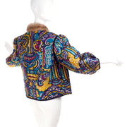 Jewel Tone Metallic Brocade Vintage Jacket w/ Mink Trim & Pink Quilted Lining
