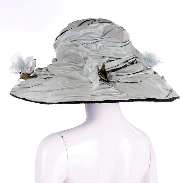 Rachel Trevor Morgan London Wide Brim Sage Green Silk Hat W/ Flowers