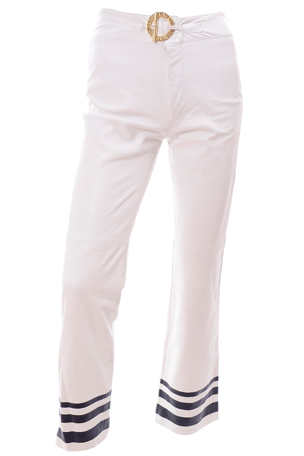Ralph Lauren White Leather Nautical Pants