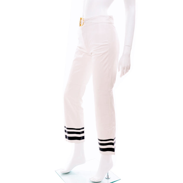 Ralph Lauren White Leather Pants w Navy Blue Stripes