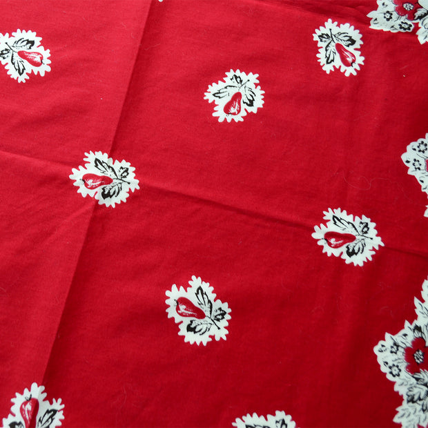 Vintage Ralph Lauren Red Cotton Scarf w/ Floral and Fruit Design