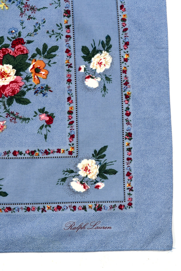 1980s Ralph Lauren Large Square Chambray Cotton Scarf w/ Floral Print