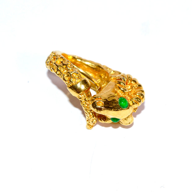 Gold Tone Aries Ram's Head Ring by Kenneth Jay Lane Size 6