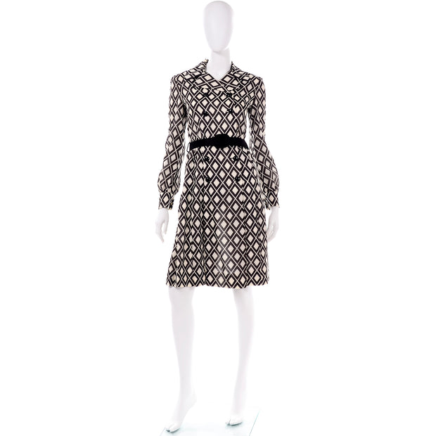 Brown and White Rare Vintage Valentino 1960s Knit Dress