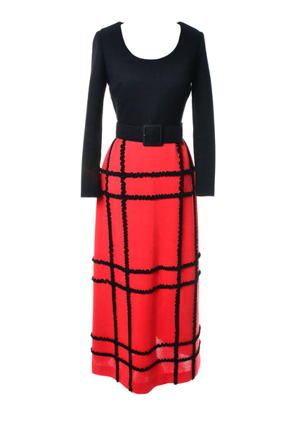 1960's Vintage Maxi Dress Black and Red Knit and Belt Excellent - Dressing Vintage