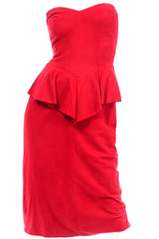 Vintage Vakko Red Suede Strapless Dress With Peplum
