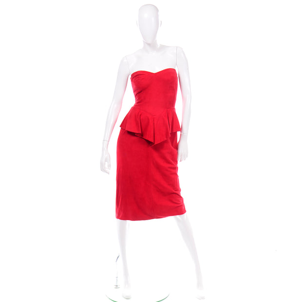 1980s Vintage Vakko Red Suede Strapless Dress With Peplum