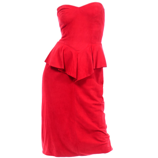 Vintage Vakko Red Suede Strapless Dress With Peplum 1980s cherry red