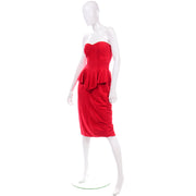 80s Vintage Vakko Red Suede Strapless Dress With Peplum 1980s