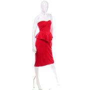 Vintage Vakko Red Suede Strapless Dress With Peplum 80s
