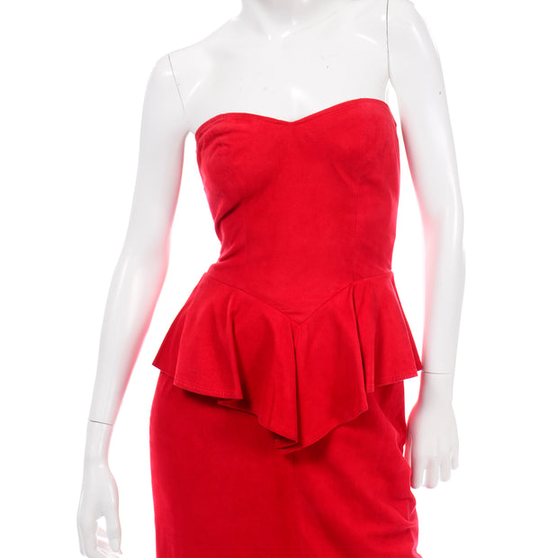 Vintage Vakko Red Suede Strapless Dress W Peplum