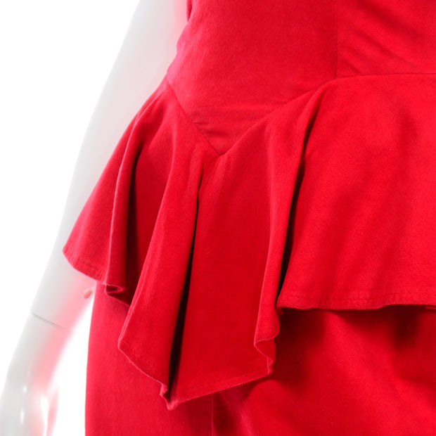 1980s Vintage Vakko Red Suede Strapless Dress W Peplum