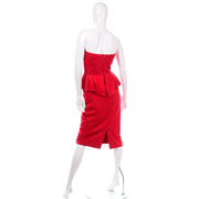 Vintage Vakko Red Suede Strapless Evening Dress With Peplum