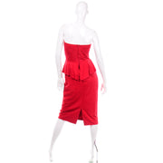 1980s Vintage Vakko Red Suede Strapless Dress With Peplum Sweetheart