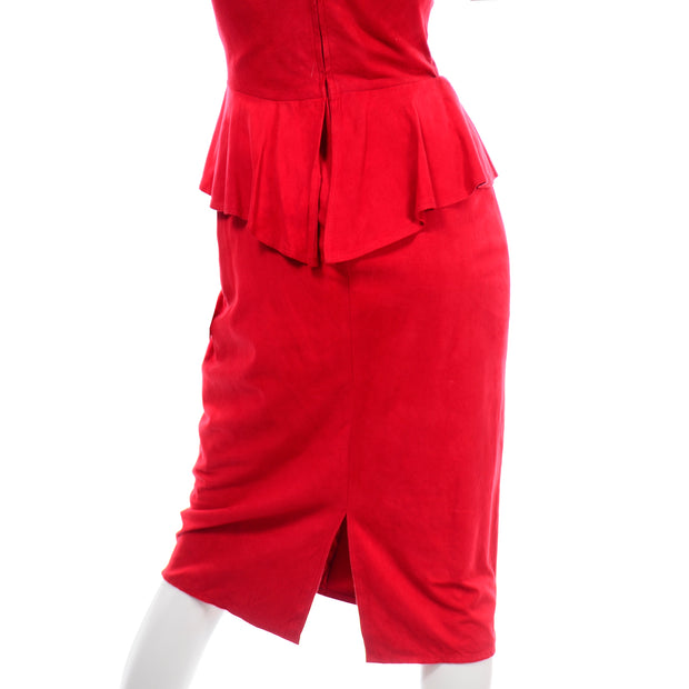 Vintage Vakko Red Suede Strapless Dress With Peplum 1980s 6 or 8