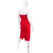 Vintage Vakko Red Suede Strapless Dress With Peplum 1980s