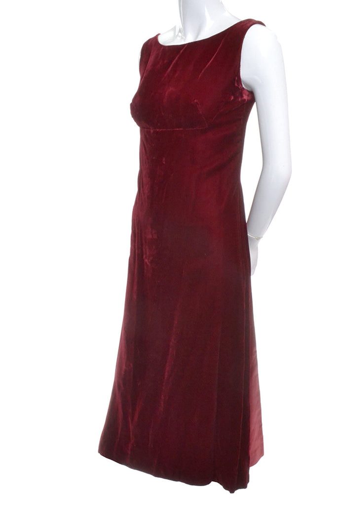 Red Velvet Evening Gown with Satin Rosettes
