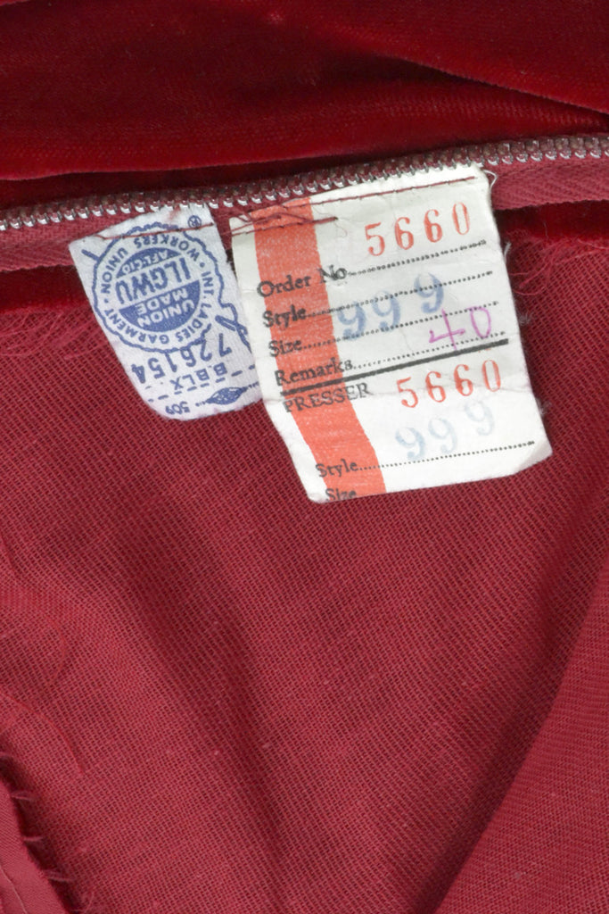 Union Tags for Red Velvet 1960's Dress