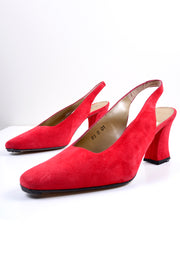 Suede block heel slingback mules from the 1980's in red - size 8.5