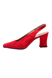 Deadstock red suede heeled mule