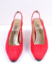 Size 8.5 vintage Nordstrom red suede singback mule slides with squared point toe