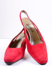 Vintage red suede slingback mule women's shoes size 8.5