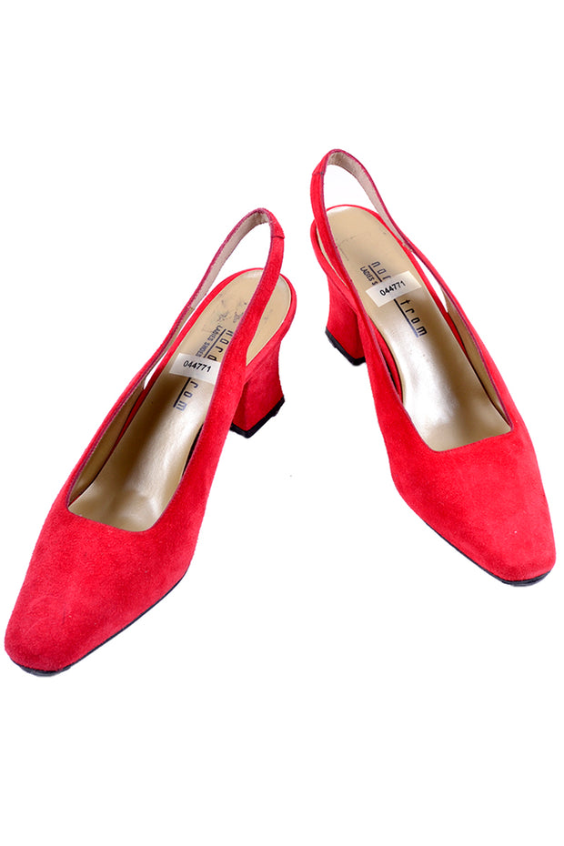 Vintage red suede deadtock slingback mules with block heel