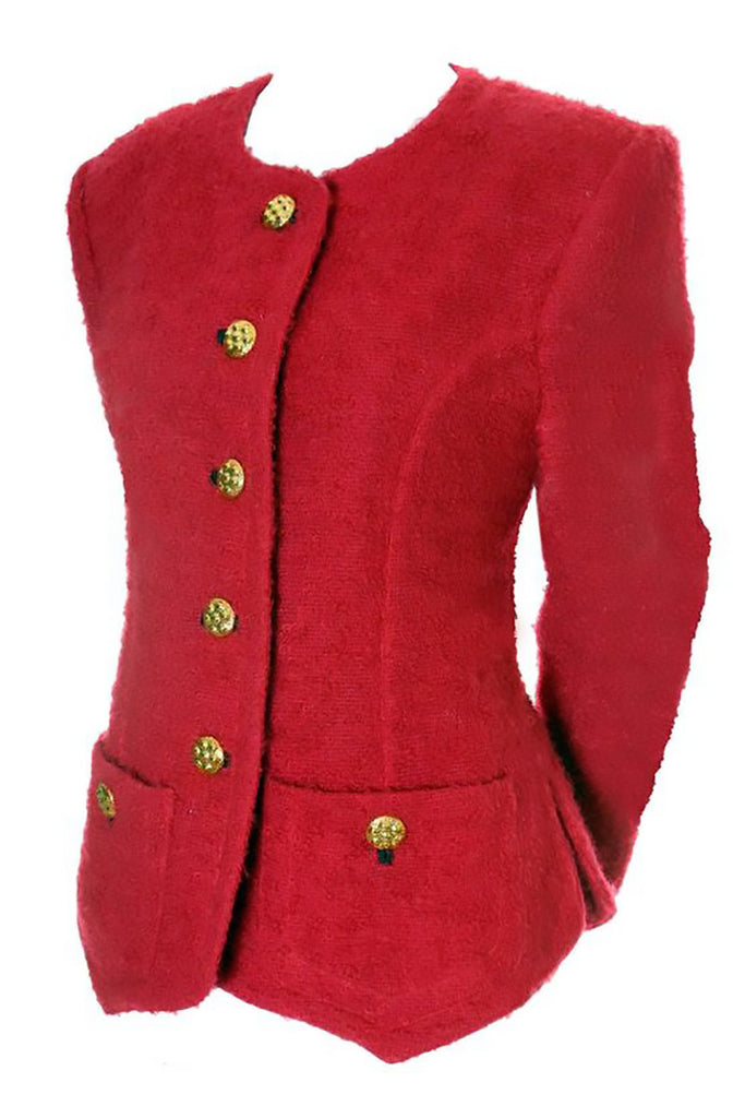 1980s or 1990s Red Wool Boucle Vintage Yves Saint Laurent Rive Gauche Blazer