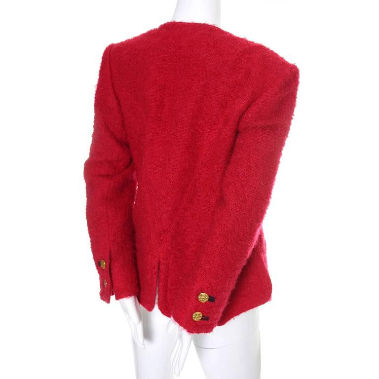 Yves Saint Laurent Red Vintage Blazer Gold Buttons Boucle