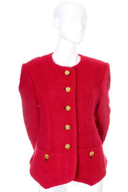 Yves Saint Laurent Rive Gauche Vintage Red Wool Boucle Blazer Jacket