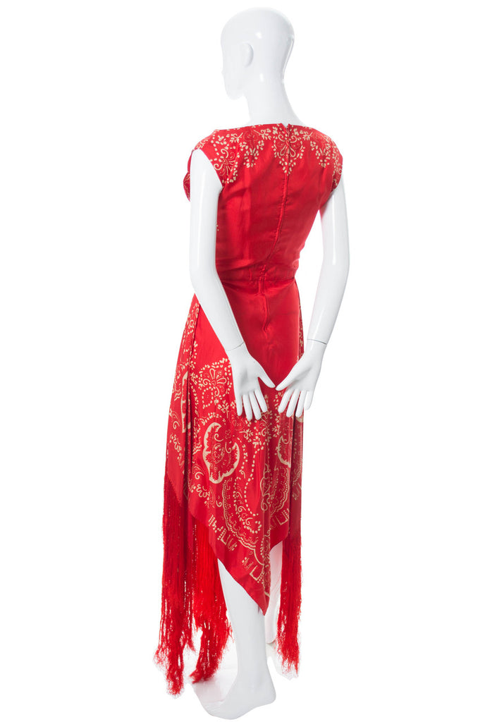 Red silk vintage dress 1970s Pauline Trigere