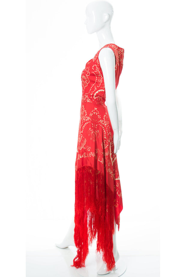 1970s RARE Pauline Trigere Red Silk Fringed Dress With Signature in Fabric - Dressing Vintage