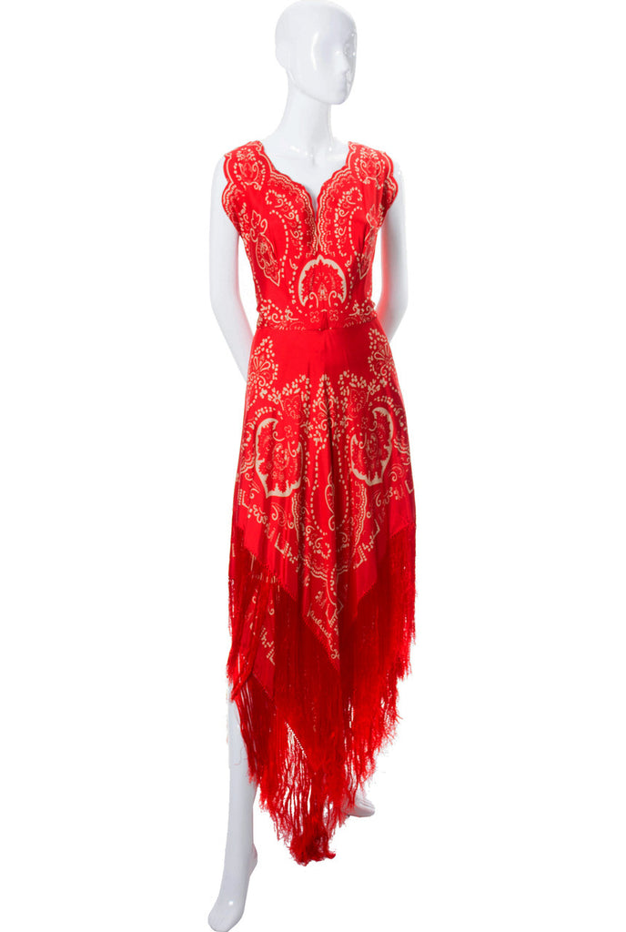 Pauline Trigere 1970s vintage dress red silk fringe