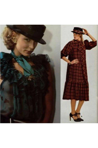 L'Officiel 1978 vintage YSL Yves Saint Laurent Rive Gauche plaid dress with bow