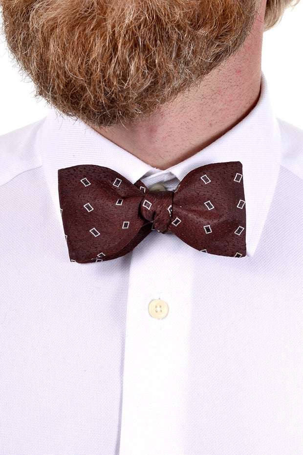 Reeslyde Brown Bow Tie With White Rectangles - Dressing Vintage