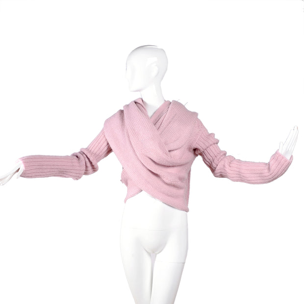 2003 Rick Owens Trucker Collection Pink Wool Wrap Cardigan Sweater