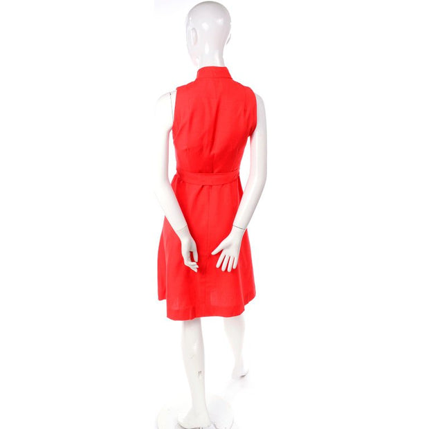 1960s Rodrigues Orange Red Silk Dress w/ Keyhole Opening Deadstock
