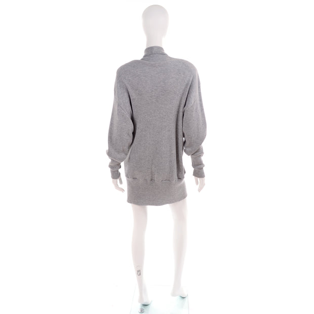 1980's Rosemary Brantley Grey Jersey Knit Oversized Cardigan