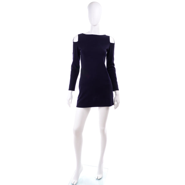 Navy Blue Rudi Gernreich 1960s Vintage Mini Dress cutout Shoulders