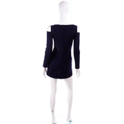 1960s Rudi Gernreich Vintage Mini Dress in Navy Blue Wool w/ Open Shoulders