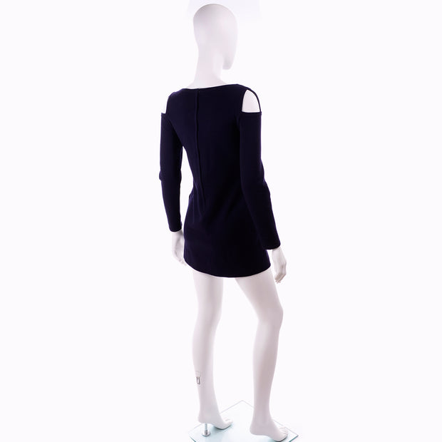 Rudi Gernreich 1960s Vintage Dress W/ cutout Shoulders Blue Knit
